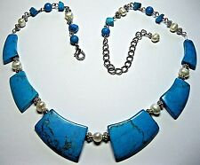 Vintage Dyed Turquoise Stone Geometrical Natural Real Baroque Pearl NECKLACE