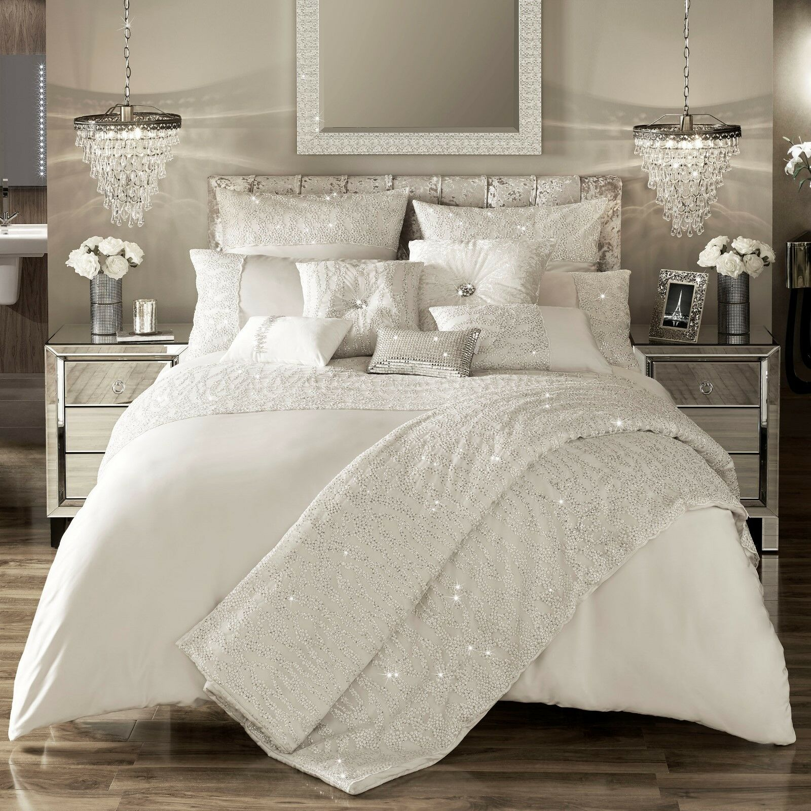 Kylie Minogue Bedding DARCEY Oyster   Ivory Duvet   Quilt Cover,Cushion or Throw
