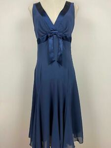 Cooper St Womens Navy Blue V Neck Flared Hem Bow Sleeveless Dress Size 10 A8