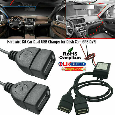 12v To 5v 3a 15w Dc Car Hard Wired Dual Usb Charger For Dash Cam Iphone Gps Dvr