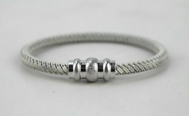 Montblanc Sterling Silver Woven White Rubber Bracelet Size M 101886 Damaged