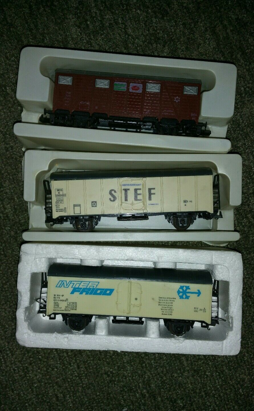 3 3 3 wagons de train publicitaires  lima   inter frigo + stef + sernam   neuf new a73146