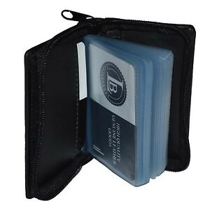 CREDIT-CARD-PICTURE-HOLDER-ALL-AROUND-ZIPPER-BLACK-30-PAGES-GENUINE-LEATHER