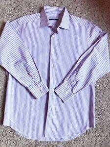 PAL-ZILERI-Collar-Blue-Stripe-CLASSIC-FIT-Shirt-Size-44-17-1-2