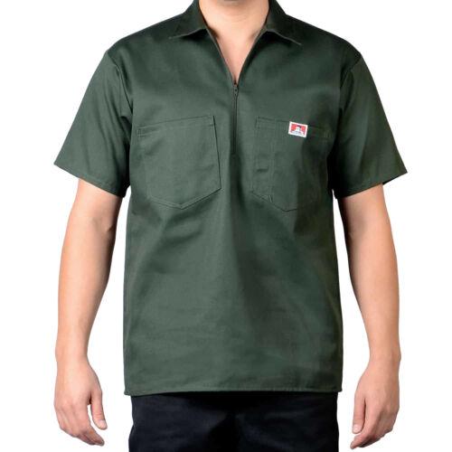 Original Ben Davis Half Zip Manche Shirt Solid Olive Workwear since 1935