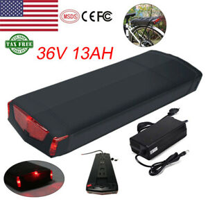 Adapter 36V 13AH Lithium Electric Bicycle Bike Battery Rear Light For Max 500W