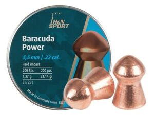 H&N Baracuda Power 200 Count COPPER COATED 5.5mm .22 Caliber Pellets GERMANY