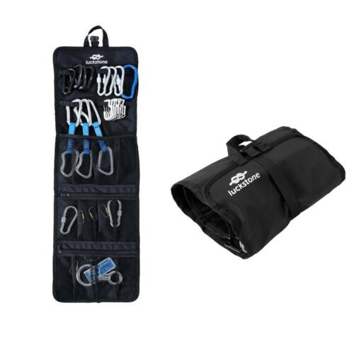 Folding Rock Climbing Caving Quickdraw Sling Carabiner Collection Bag Black