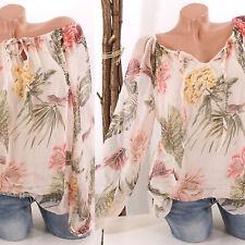 Bluse Damen transparent Tunika Muster 38 40 42 schulterfrei Oberteil rosa Italy