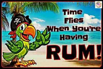PIRATE TIME FLIES ALL WEATHER METAL SIGN 8X12 USA TIKI BAR BEACH LUAU WELCOME