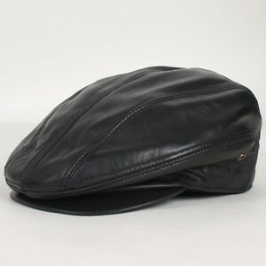 2c8d1dd3ed2 Details about New Unisex Genuine Leather Newsboy Driving Golf Flat Ivy  Ascot Snap Brim Hat Cap