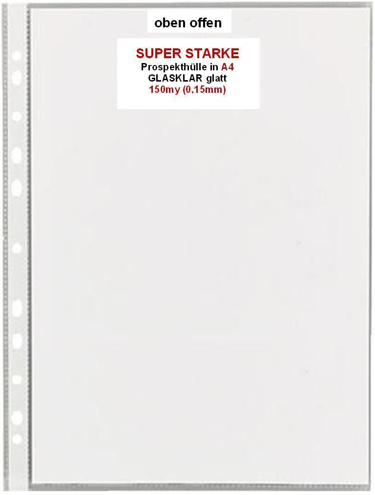 SUPER STARKE A4 Prospekthülle, 150my 0,15mm  Klarsichthülle Abheftrand GLASKLAR | Shop Düsseldorf  | Schön und charmant  | Up-to-date-styling