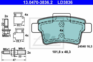 ATE 13.0470-3836.2 Bremsbelagsatz Scheibenbremse ATE Ceramic