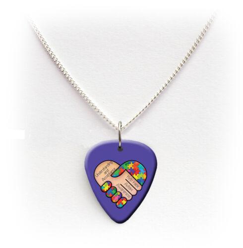 Autism Awareness *Charity Listing* Guitar Pick Plectrum Necklace Keyring Badge