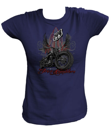 Damen T-Shirt 15050 Classic Iron Rumblers Biker Motor Hot Rod Army Motorrad USA