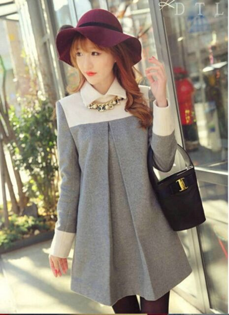 Pregnant Women Autumn Winter New Fashion Long Sleeve Baby Neck Down Dress