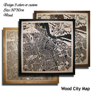 Wood-City-Map-AMSTERDAM-Decor-Picture-Town-Village-Laser-Cut-Wall-Art-Netherland