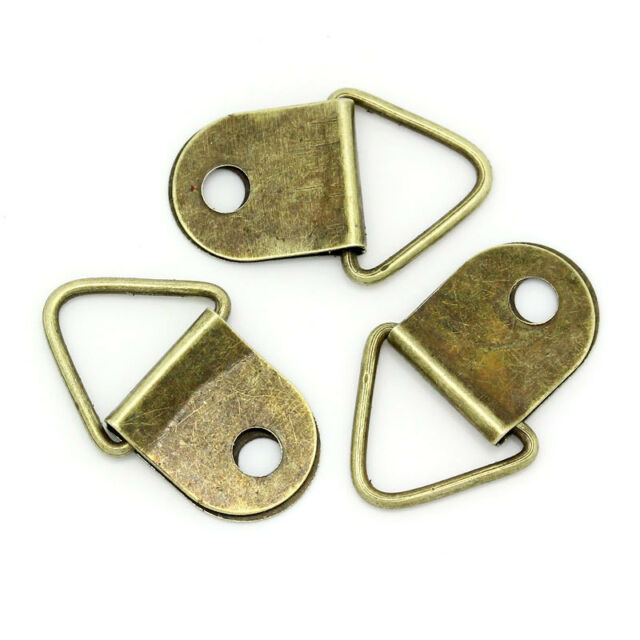 PICTURE FRAME HOOKS TRIANGLE D RINGS HANGERS FRAME HANGING ANTIQUE BRONZE FIXING