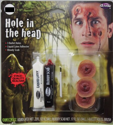 BULLET HOLES IN THE HEAD Wounds Prosthetic Scary Halloween Costume Bloody NEW