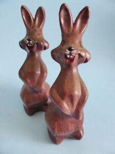 1950s-Rabbit-Salt-amp-Pepper-Shakers-Bunnies-with-Rhinestone-Eyes-Hand-Painted