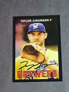 Taylor Jungmann Milwaukee Brewers 2016 Topps Heritage Chrome Black Refractor /67
