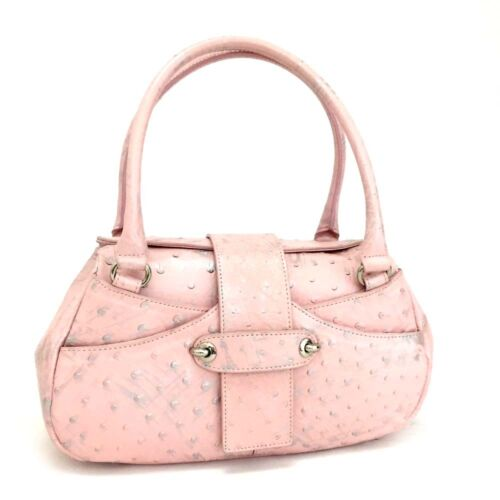 100% Authentic Ostrich Genuine Pink Paint Leather