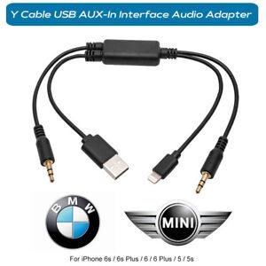 PER-BMW-MINI-IPOD-IPHONE-5-6-S-SE-Plus-Interfaccia-audio-USB-A-Y-DEI-adattatore