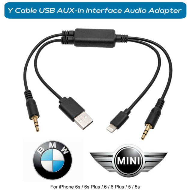 official photos da057 10f2a Lightning Y Cable BMW Mini USB Aux-in Interface Audio Adapter iPhone 6 6s  Plus