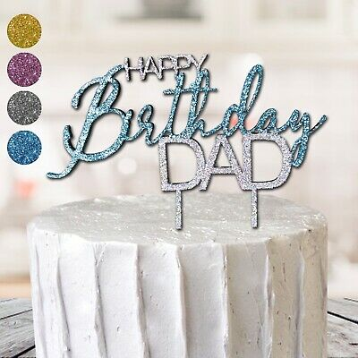 Excellent Happy Birthday Dad Father Cake Topper Best Gift Glitter Party Hero Personalised Birthday Cards Paralily Jamesorg