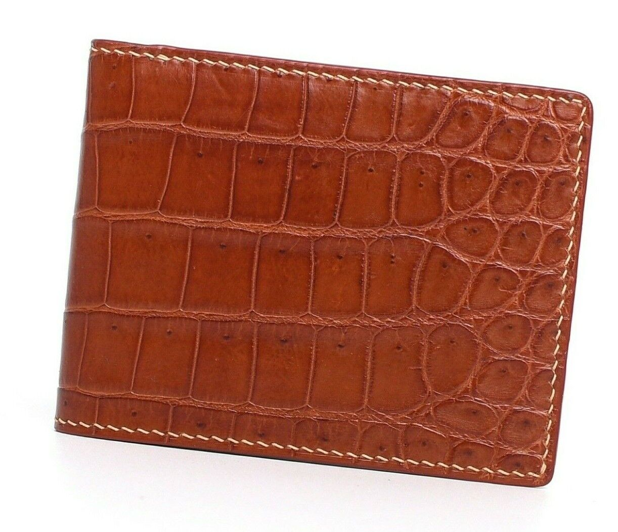 High Quality Crocodile Alligator Belly Leather Bifold Wallet Handstitched #WH202
