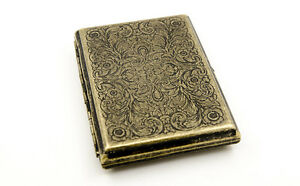 Vintage Brass Copper Lucky Swirl Floral Flower Wiredrawing Cigarette Case Box