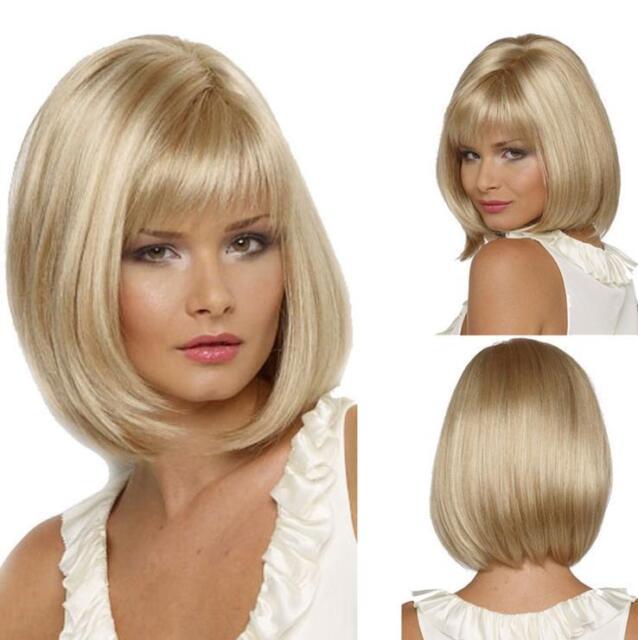 Femmes Blond Clair Court Bob Droite Cheveux Plein Perruque + Perruque Bouchon