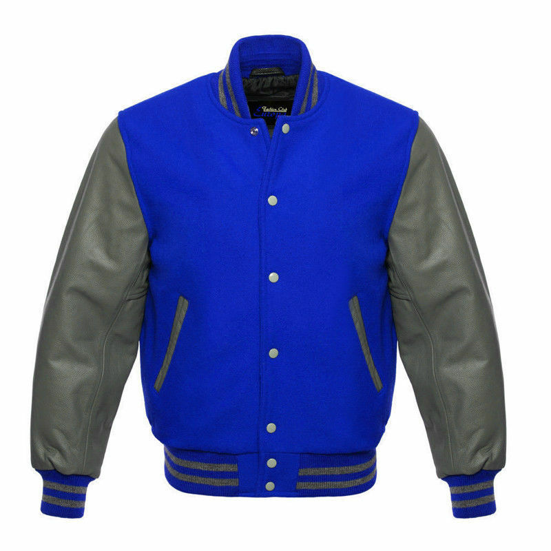 American Original Leather Varsity Letterman College Baseball bluee Wool  XS-4XL
