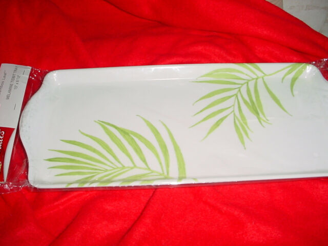 CORELLE BAMBOO LEAF TIDBIT SERVING TRAY BRAND NEW IN PACKAGE FREE USA SHIPPING