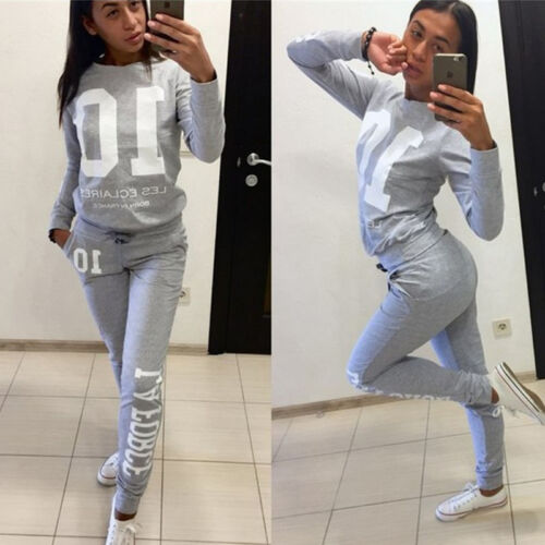 Women Tracksuit Fleece Hoodie Sweatshirt Pants 2Pcs Set Sport Pants Sweat Suit