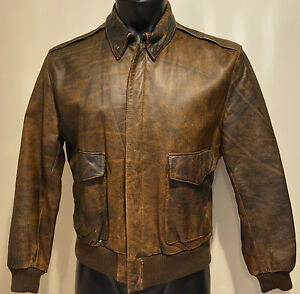 Vintage Men S M 40 Brown Distressed Leather Aviator