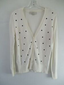 Ann-Taylor-Loft-Women-039-s-Size-Small-Long-Sleeve-White-amp-Black-Floral-Cardigan