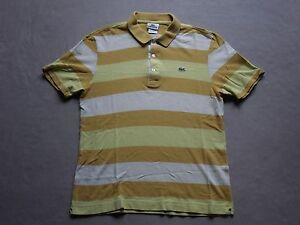 9620b7557c LACOSTE MENS YELLOW STRIPED S/S POLO BUTTON-UP SHIRT SIZE 4 SMALL ...