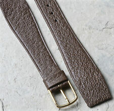 Hirsch 20mm brown saddle leather vintage watch band for wire lugs open-end strap