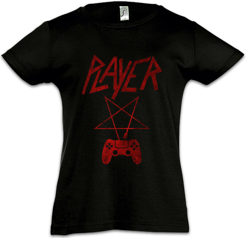 Player P Kids Girls T-shirt Player Fun Slayer Gamer Gaming Pentagramm