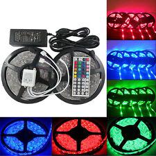 2x5M 5050 Streifen LED RGB Licht 10M Leiste Strip + Fernbedienung + Netzteil 12V