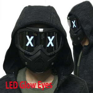 Details About LED Luminous Half Face Mask DJ Cosplay Helmet Halloween Party  Props Gift