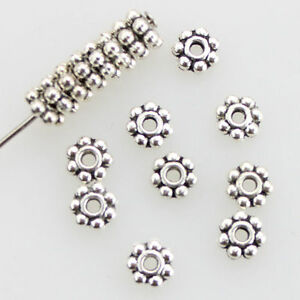150pcs Tibetan Silver Daisy Flower Shaped Spacer Beads Jewelry Making 4mm Hot