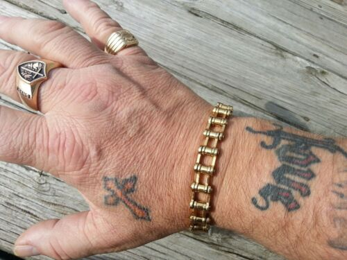 Harley Man Biker Gold Anodized Motorcycle Chain Braclet Makes a Great Gift