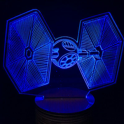 Star Wars Tie Fighter 3D LED Night Light Button Switch Desk Table Lamp 7 Color