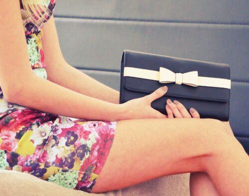 Damen Tasche Umhängetasche Abendtasche Clutch Schulterriemen Schleife Neon Farbe
