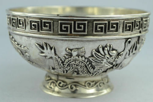 Handwork Miao Silver Carve Dragon Phoenix Bringing Prosperity Lucky Usable Bowl
