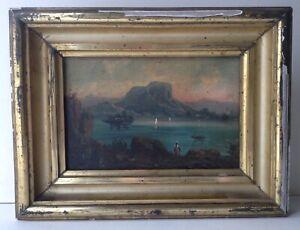 Tableau-Ancien-XIXe-Marine-Ecole-Napolitaine-Iles-du-Golfe-de-Naples-Huile-signe