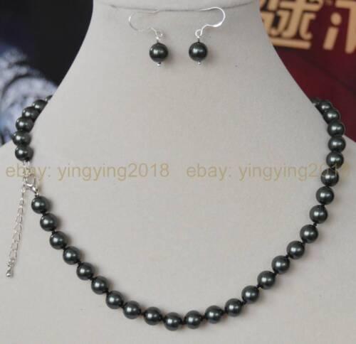 Fine 8 mm South Sea Noir Vert Shell Pearl PERLES rondes Colliers /& Boucles d/'oreilles Set
