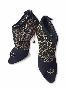 NEW-BRIAN-ATWOOD-BLACK-BRONZE-BEADED-CAGE-BOOTIES-39-1195